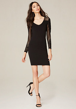 bebe Lidia Textured Rib Dress