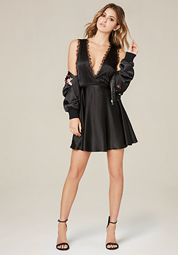 bebe Silk Flared Slip Dress