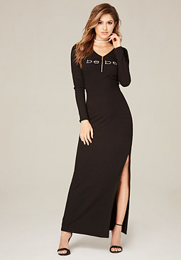 bebe Logo Lace Up Zip Maxi Dress