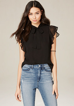 bebe Ruffle Sleeve Tie Neck Top