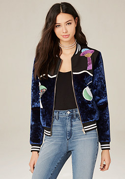 bebe Sequin Bomber Jacket