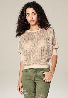 Mesh Knit Dolman Sweater