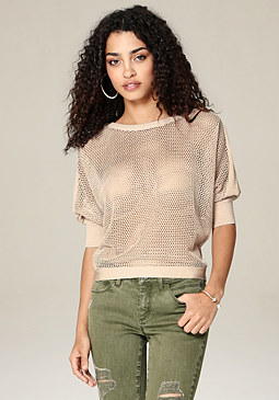 bebe Mesh Knit Dolman Sweater