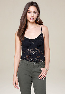 bebe Lace Strappy Bodysuit