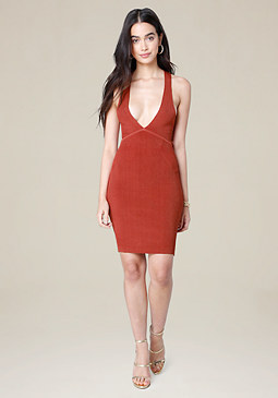 bebe Ribbed Crossback Dress