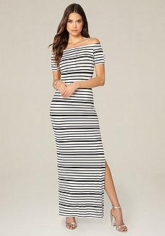 Logo Striped Maxi Dress