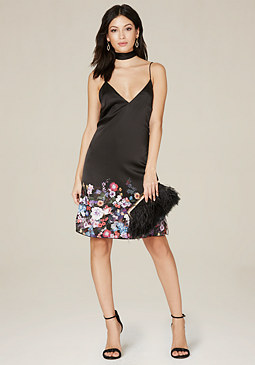 bebe Mara Print Silk Slip Dress