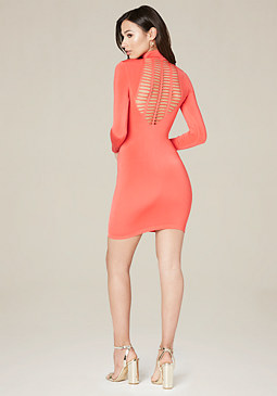 bebe Mock Neck Scoop Dress