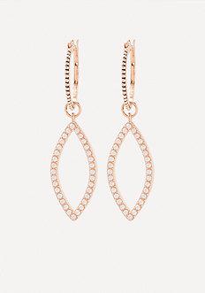 Stud Marquise Hoop Earrings