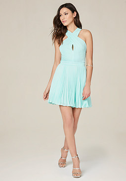 bebe Pleated Crossover Dress