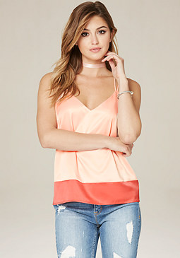 bebe Colorblock Strappy Top