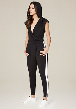 bebe Hooded Surplice Jumpsuit