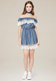 Crochet Trim Chambray Dress