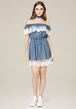 bebe Crochet Trim Chambray Dress