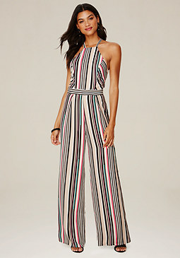 bebe Striped Wide Leg Jumpsuit