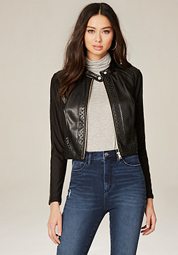 bebe Mesh Laser Cut Trim Jacket