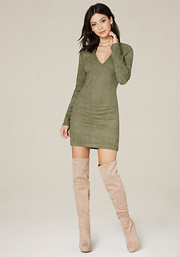 bebe Faux Suede V-Neck Dress