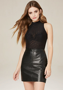 bebe Mesh Mock Neck Bodysuit