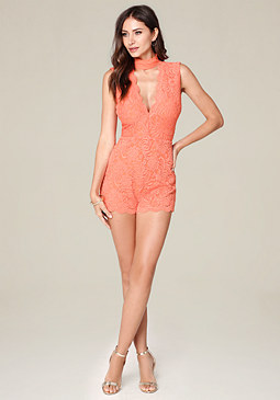 bebe Lace Mock Neck Romper