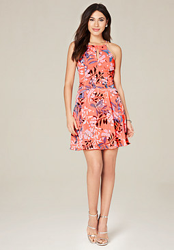 bebe Print Lace Up Skater Dress