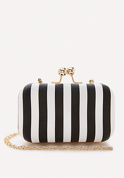 bebe Alby Striped Minaudiere