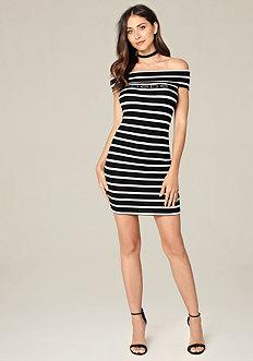 Logo Striped Foldover Dress
