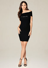 bebe Logo Foldover Dress