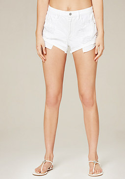 bebe White Roll Hem Shorts