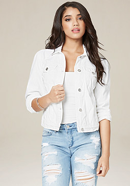 bebe White Denim Jacket