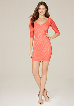 bebe Net Scoopneck Dress