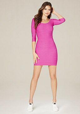 bebe Textured Scoopneck Dress