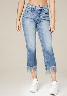 Frayed Hem Straight Jeans