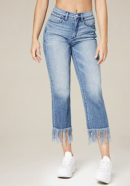bebe Frayed Hem Straight Jeans