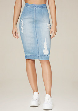 bebe Denim Pencil Skirt