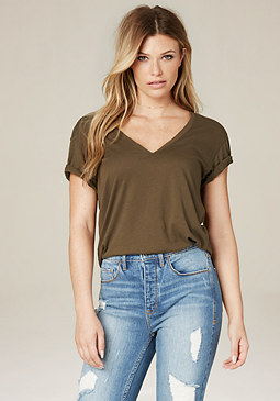 bebe Cotton V-Neck Tee