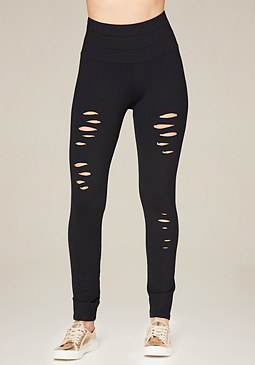 bebe Petite Ripped Leggings