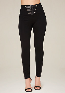 bebe Petite Military Leggings