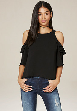 bebe Ruffled Open Shoulder Top