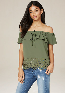 bebe Eyelet Off Shoulder Top