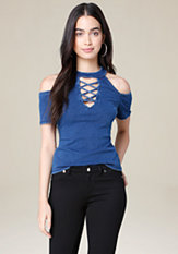 bebe Amalia Knit Denim Top