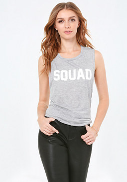 bebe Heather Grey Squad Tank