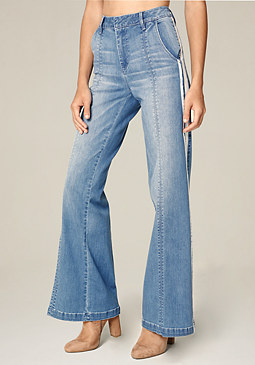bebe Striped Wide Leg Jeans