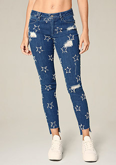 Frayed Star Skinny Jeans