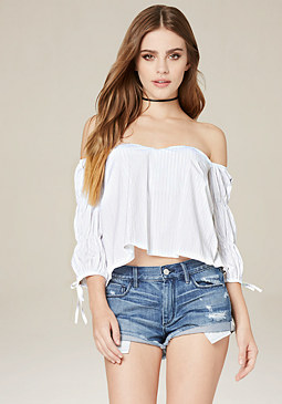 bebe Puff Sleeve Strapless Top