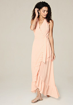 bebe Ruffled Surplice Maxi Dress