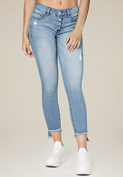 bebe Frayed Hem Button Jeans