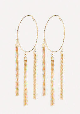 bebe Tassel Hoop Earrings