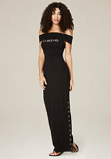 bebe Logo Snap Slit Maxi Dress