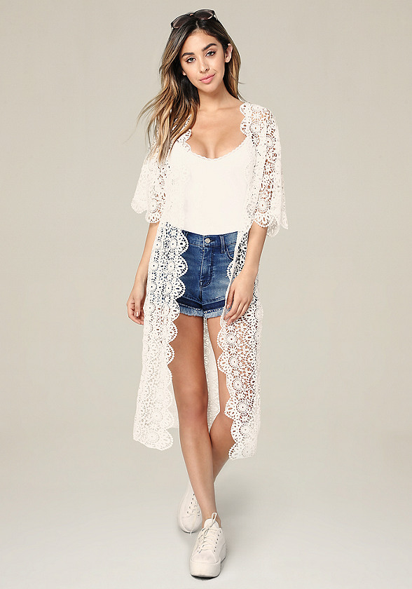 Long Floral Lace Cover Up