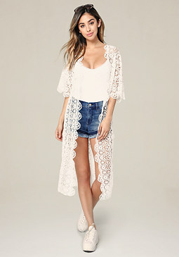 bebe Long Floral Lace Cover Up